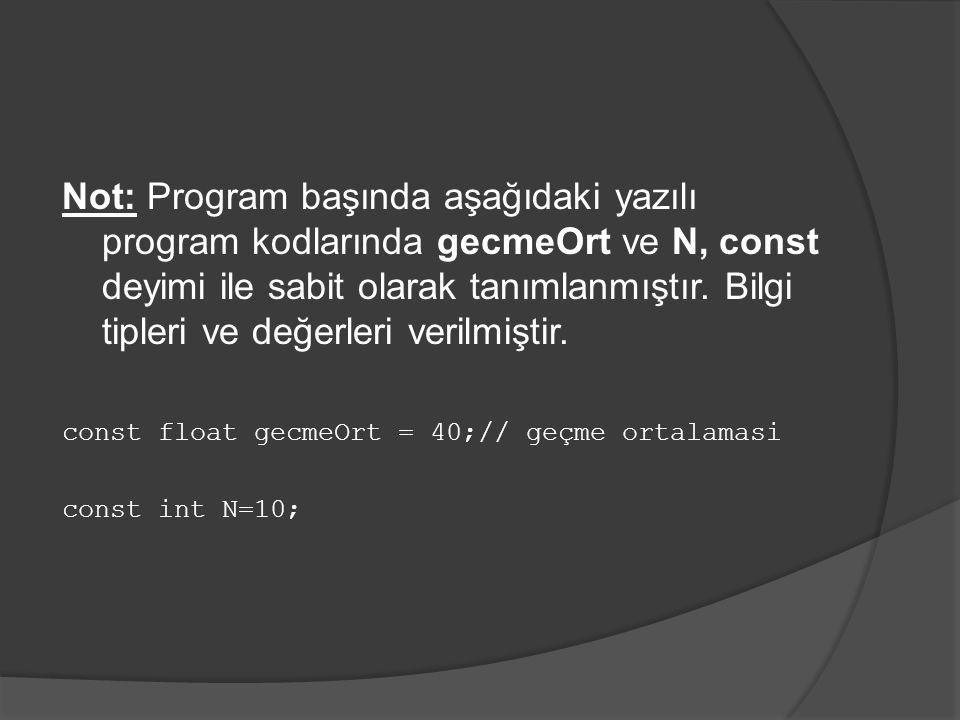 Not: Program başında aşağıdaki yazılı program kodlarında gecmeOrt ve N, const deyimi ile sabit olarak tanımlanmıştır. Bilgi tipleri ve değerleri veril