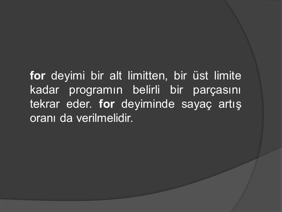 Kullanımı: for (sayac=alt limit; sayac < üst limit; sayaç artış oranı) { //for bloğu başlangıcı //for blogu (compound) deyimler; } //for blogu sonu