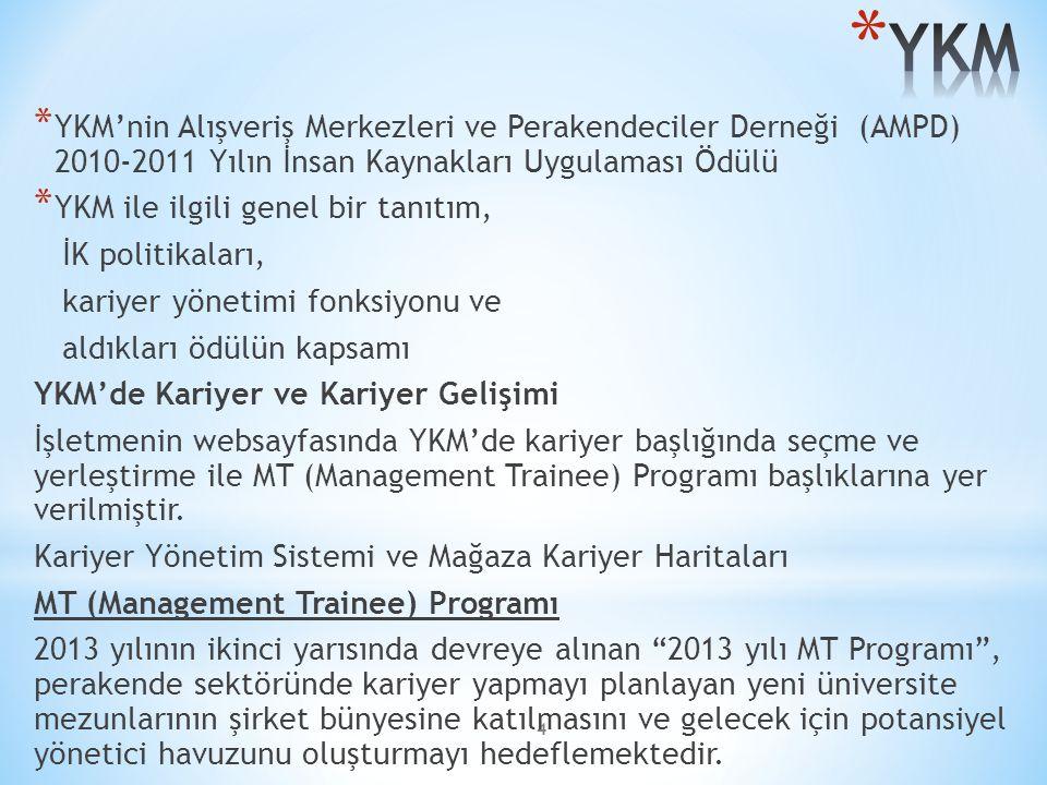 4 * YKM'nin Alışveriş Merkezleri ve Perakendeciler Derneği (AMPD) 2010-2011 Yılın İnsan Kaynakları Uygulaması Ödülü * YKM ile ilgili genel bir tanıtım, İK politikaları, kariyer yönetimi fonksiyonu ve aldıkları ödülün kapsamı YKM'de Kariyer ve Kariyer Gelişimi İşletmenin websayfasında YKM'de kariyer başlığında seçme ve yerleştirme ile MT (Management Trainee) Programı başlıklarına yer verilmiştir.