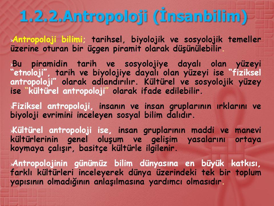 1.2.2.Antropoloji (İnsanbilim)  Antropoloji bilimi; tarihsel, biyolojik ve sosyolojik temeller üzerine oturan bir üçgen piramit olarak düşünülebilir.