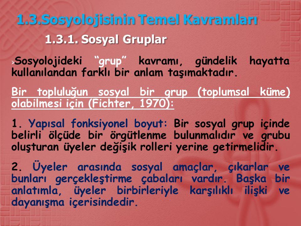 1.3.Sosyolojisinin Temel Kavramları 1.3.1.
