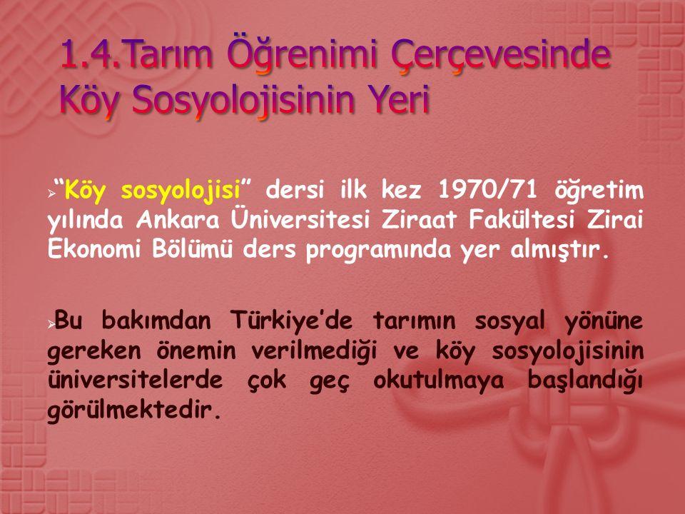  Köy sosyolojisi dersi ilk kez 1970/71 öğretim yılında Ankara Üniversitesi Ziraat Fakültesi Zirai Ekonomi Bölümü ders programında yer almıştır.