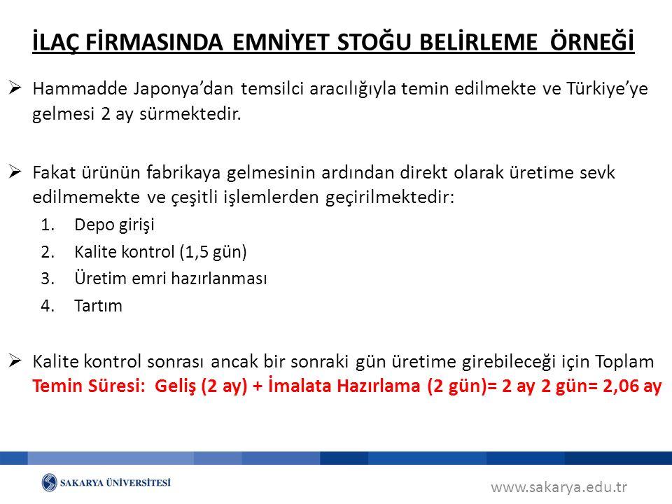 www.sakarya.edu.tr  Hammadde Japonya'dan temsilci aracılığıyla temin edilmekte ve Türkiye'ye gelmesi 2 ay sürmektedir.
