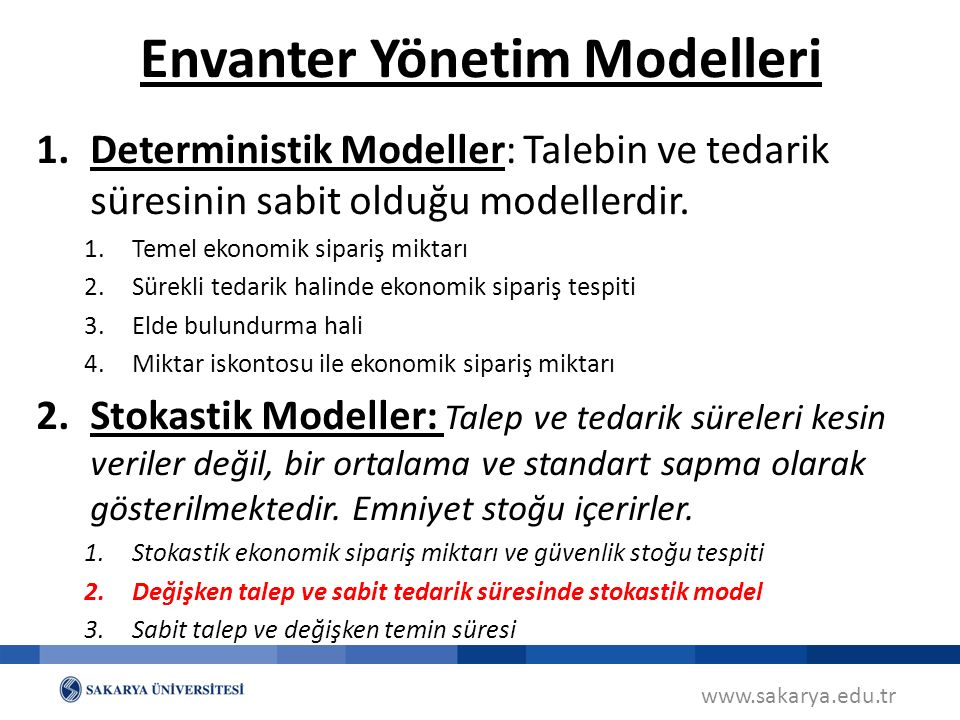 www.sakarya.edu.tr 1.Deterministik Modeller: Talebin ve tedarik süresinin sabit olduğu modellerdir.