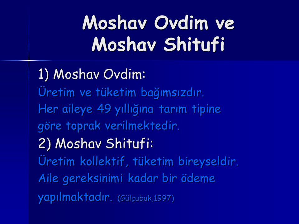 Moshav Ovdim ve Moshav Shitufi 1) Moshav Ovdim: Üretim ve tüketim bağımsızdır. Her aileye 49 yıllığına tarım tipine göre toprak verilmektedir. 2) Mosh