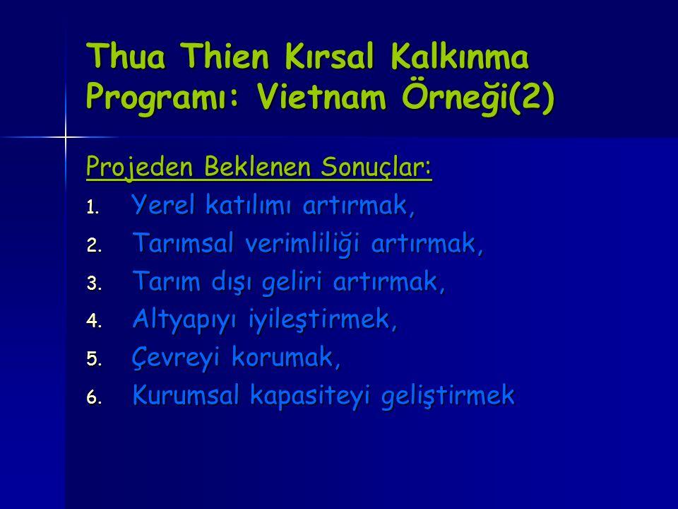 Thua Thien Kırsal Kalkınma Programı: Vietnam Örneği(2) Projeden Beklenen Sonuçlar: 1. Yerel katılımı artırmak, 2. Tarımsal verimliliği artırmak, 3. Ta