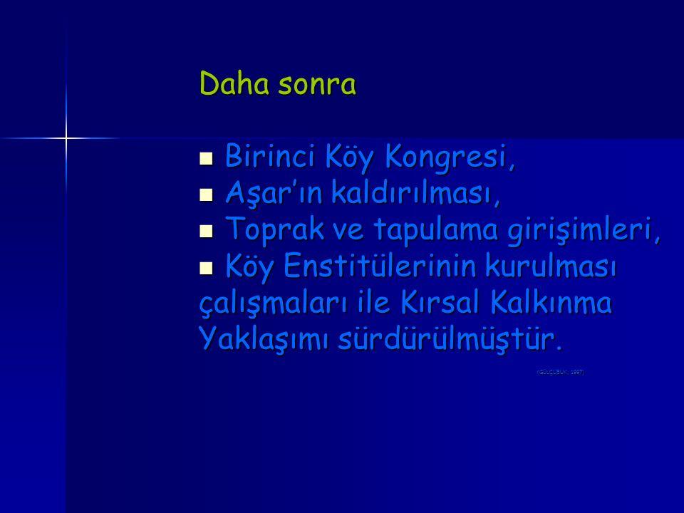 Daha sonra Birinci Köy Kongresi, Birinci Köy Kongresi, Aşar'ın kaldırılması, Aşar'ın kaldırılması, Toprak ve tapulama girişimleri, Toprak ve tapulama