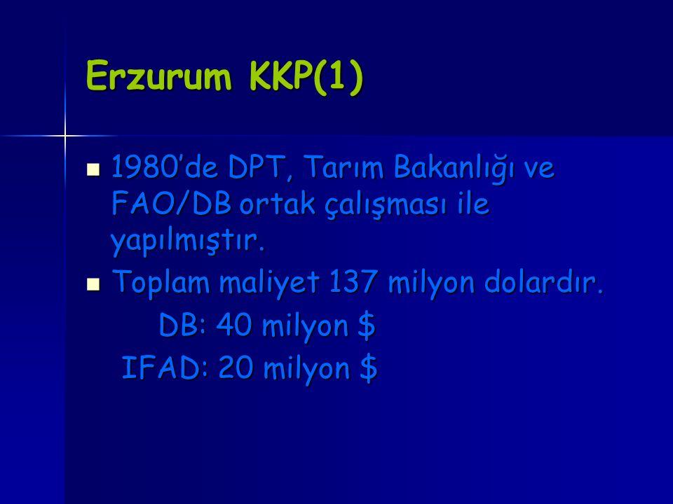 Erzurum KKP(1) 1980'de DPT, Tarım Bakanlığı ve FAO/DB ortak çalışması ile yapılmıştır. 1980'de DPT, Tarım Bakanlığı ve FAO/DB ortak çalışması ile yapı