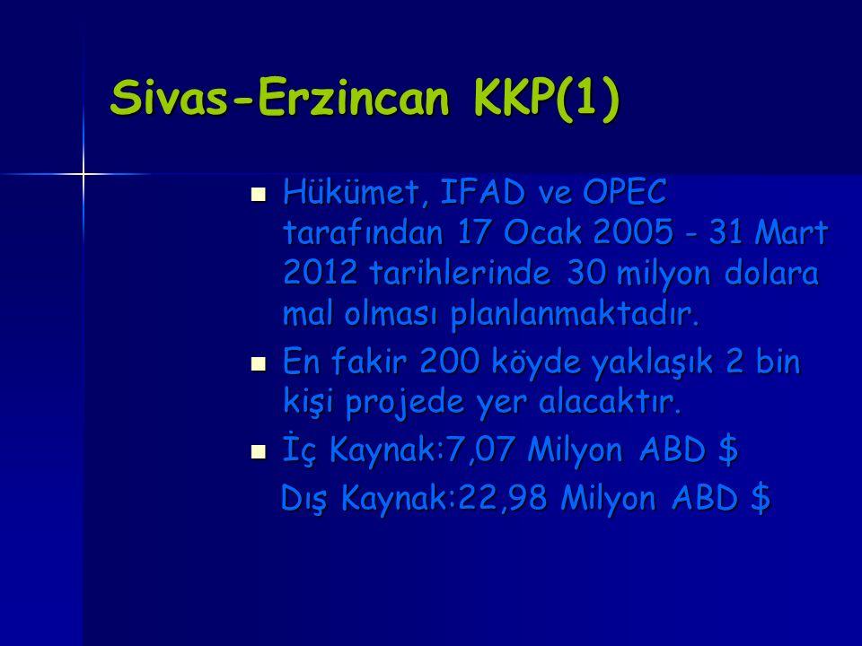 Sivas-Erzincan KKP(1) Hükümet, IFAD ve OPEC tarafından 17 Ocak 2005 - 31 Mart 2012 tarihlerinde 30 milyon dolara mal olması planlanmaktadır. Hükümet,
