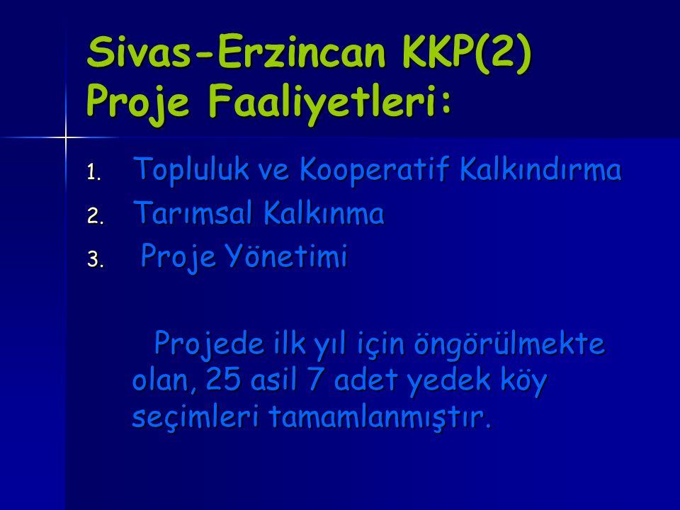 Sivas-Erzincan KKP(2) Proje Faaliyetleri: 1. Topluluk ve Kooperatif Kalkındırma 2. Tarımsal Kalkınma 3. Proje Yönetimi Projede ilk yıl için öngörülmek