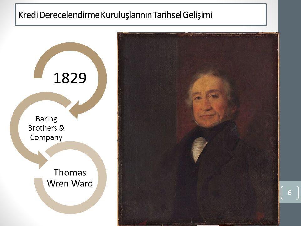 Kredi Derecelendirme Kuruluşlarının Tarihsel Gelişimi 6 1829 Baring Brothers & Company Thomas Wren Ward