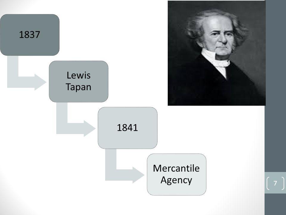 1837 Lewis Tapan 1841 Mercantile Agency 7