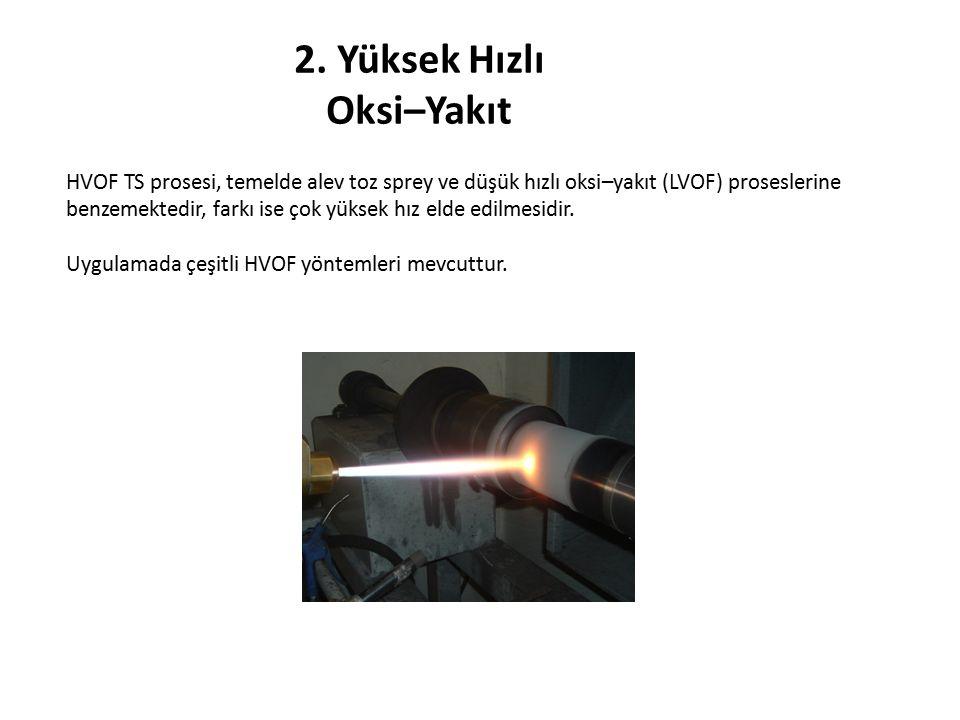 2. Yüksek Hızlı Oksi–Yakıt HVOF TS prosesi, temelde alev toz sprey ve düşük hızlı oksi–yakıt (LVOF) proseslerine benzemektedir, farkı ise çok yüksek h
