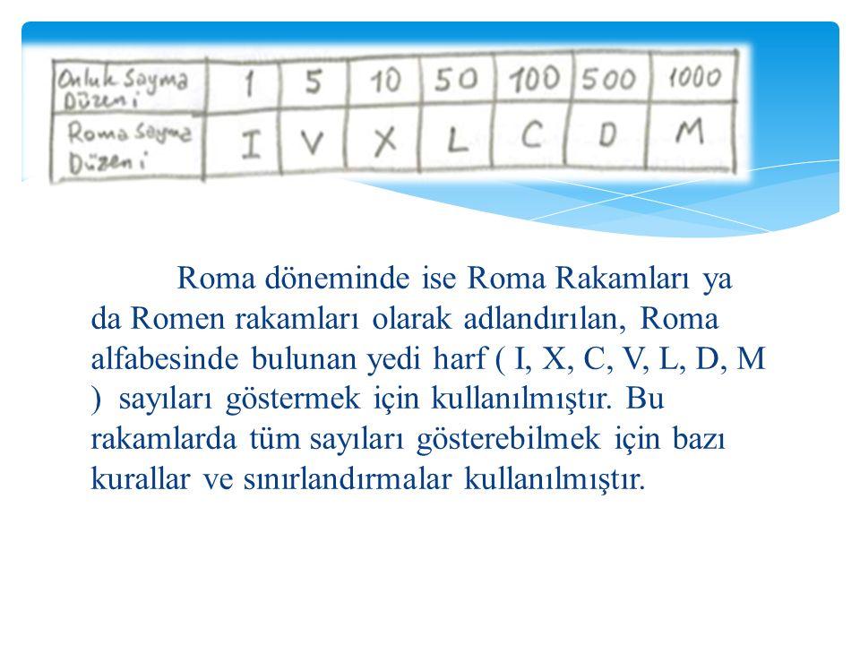 Roma döneminde ise Roma Rakamları ya da Romen rakamları olarak adlandırılan, Roma alfabesinde bulunan yedi harf ( I, X, C, V, L, D, M ) sayıları göste