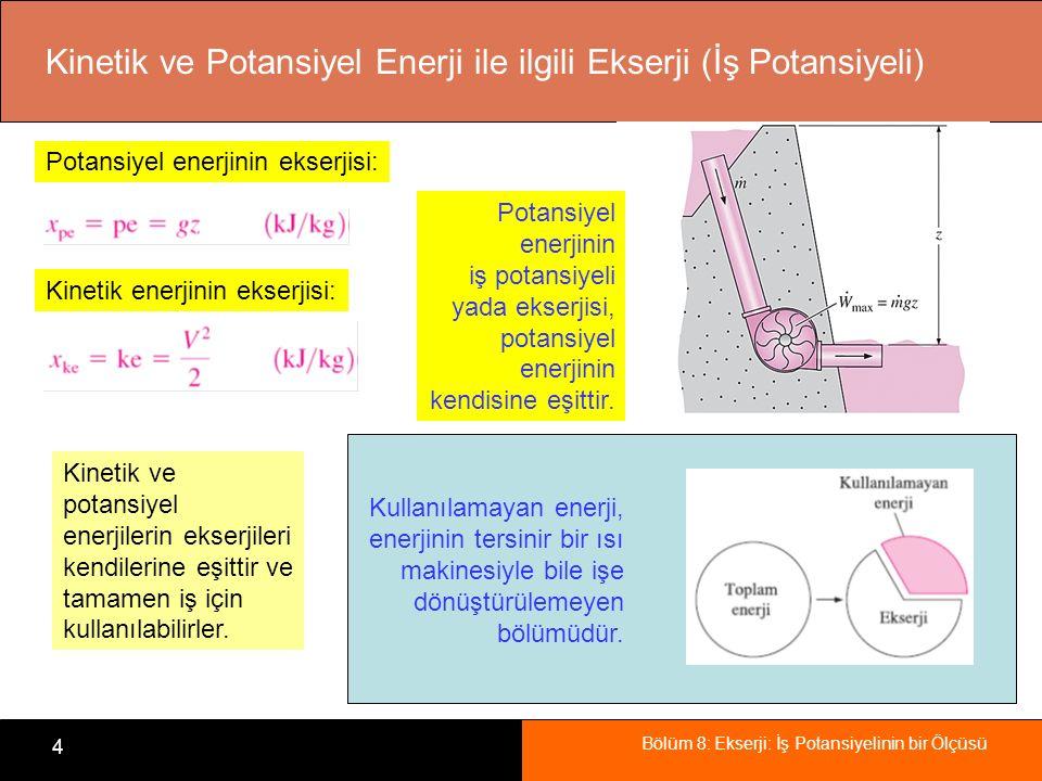 Bölüm 8: Ekserji: İş Potansiyelinin bir Ölçüsü 4 Kinetik ve Potansiyel Enerji ile ilgili Ekserji (İş Potansiyeli) Potansiyel enerjinin iş potansiyeli yada ekserjisi, potansiyel enerjinin kendisine eşittir.