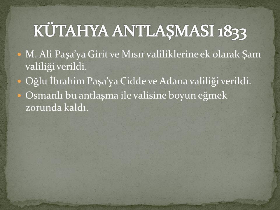 M.Ali Paşa'ya Girit ve Mısır valiliklerine ek olarak Şam valiliği verildi.