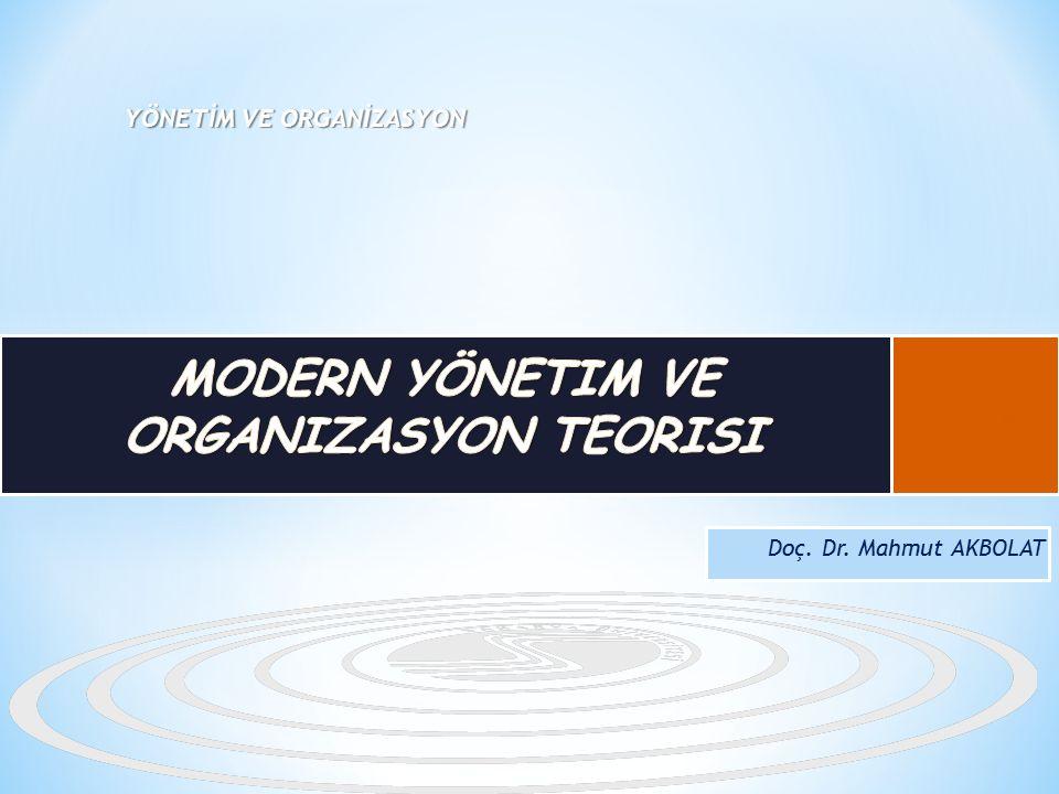 Yönetim ve organizasyon alanındaki gelişmeleri ve modern yönetim anlayışının işletmelere bakış açısını anlayabilmek, Modern yönetim düşüncesi kapsamında yer alan yönetim yaklaşımlarını anlayabilmek, Modern yönetim teorisini diğer yönetim anlayışları ile karşılaştırmalı olarak değerlendirmek hedeflenmektedir.