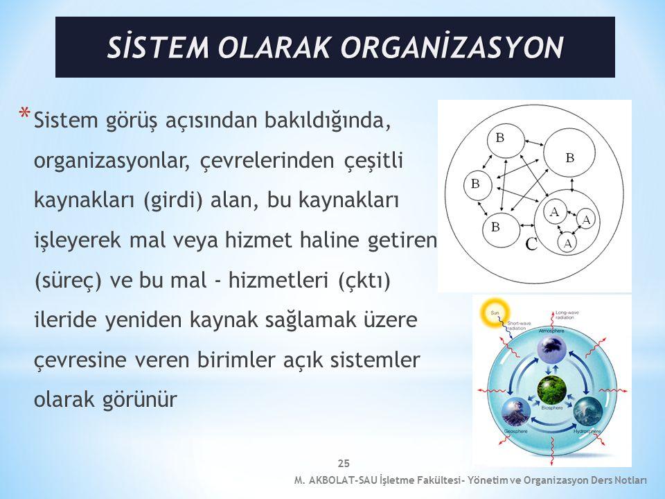 25 * Sistem görüş açısından bakıldığında, organizasyonlar, çevrelerinden çeşitli kaynakları (girdi) alan, bu kaynakları işleyerek mal veya hizmet haline getiren (süreç) ve bu mal - hizmetleri (çktı) ileride yeniden kaynak sağlamak üzere çevresine veren birimler açık sistemler olarak görünür M.