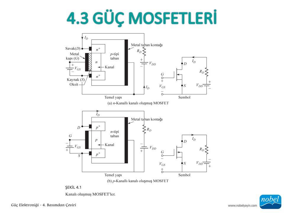 Tablo 4.2'de BJT'ler, MOSFET'ler ve IGBT'ler karşılaştırılmıştır.