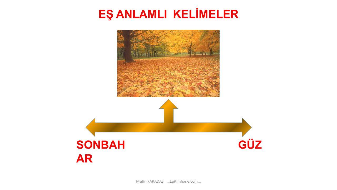 EŞ ANLAMLI KELİMELER SONBAH AR GÜZ Metin KARADAŞ...Egitimhane.com...
