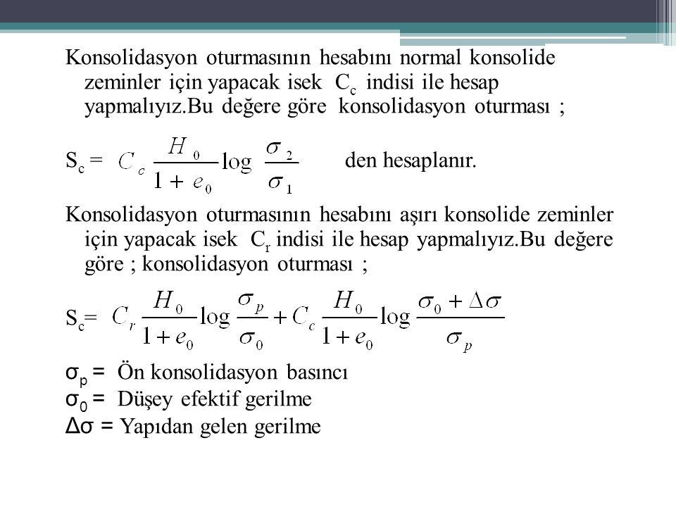 Konsolidasyon oturmasının hesabını normal konsolide zeminler için yapacak isek C c indisi ile hesap yapmalıyız.Bu değere göre konsolidasyon oturması ; S c = den hesaplanır.