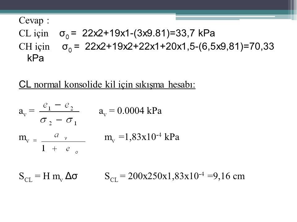 Cevap : CL için σ 0 = 22x2+19x1-(3x9.81)=33,7 kPa CH için σ 0 = 22x2+19x2+22x1+20x1,5-(6,5x9,81)=70,33 kPa CL normal konsolide kil için sıkışma hesabı: a v = a v = 0.0004 kPa m v = m v =1,83x10 -4 kPa S CL = H m v Δσ S CL = 200x250x1,83x10 -4 =9,16 cm
