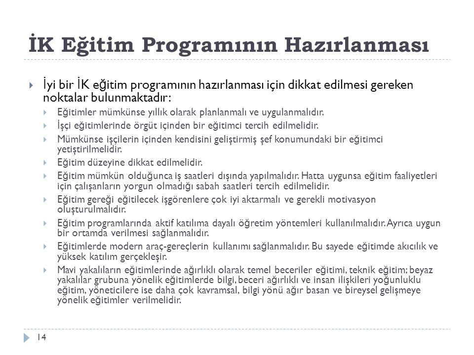 İK Eğitim Programının Hazırlanması  İ yi bir İ K e ğ itim programının hazırlanması için dikkat edilmesi gereken noktalar bulunmaktadır:  E ğ itimler