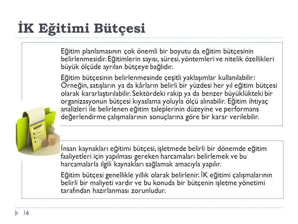 İK Eğitimi Bütçesi E ğ itim planlamasının çok önemli bir boyutu da e ğ itim bütçesinin belirlenmesidir. E ğ itimlerin sayısı, süresi, yöntemleri ve n