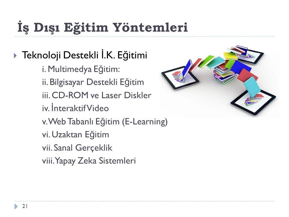 İş Dışı Eğitim Yöntemleri  Teknoloji Destekli İ.K. E ğ itimi i. Multimedya E ğ itim: ii. Bilgisayar Destekli E ğ itim iii. CD-ROM ve Laser Diskler iv