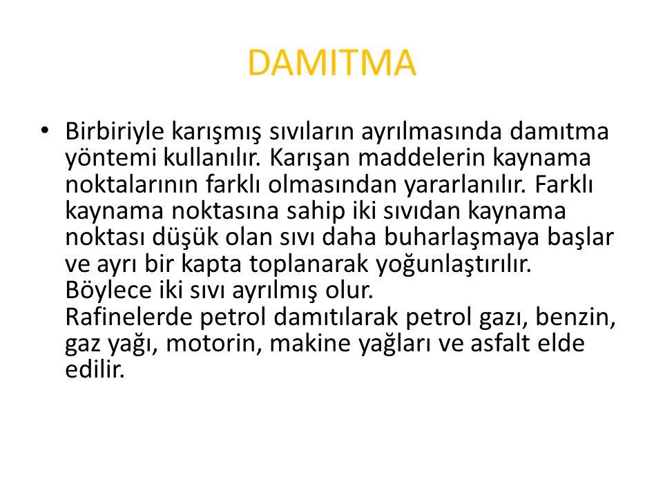 DAMITMA Birbiriyle karışmış sıvıların ayrılmasında damıtma yöntemi kullanılır.