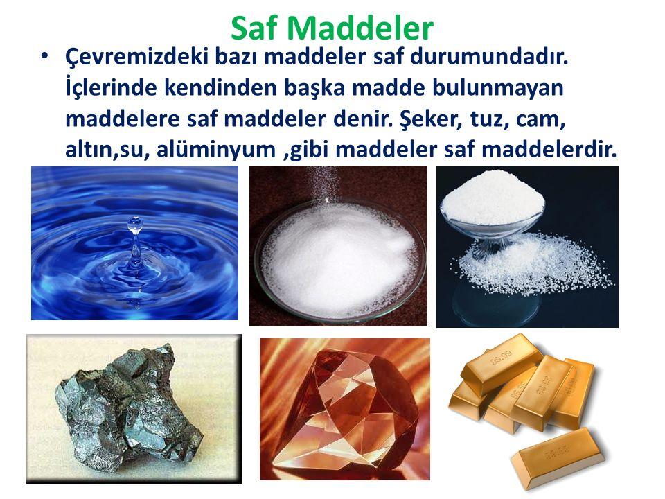 Saf Maddeler Çevremizdeki bazı maddeler saf durumundadır.