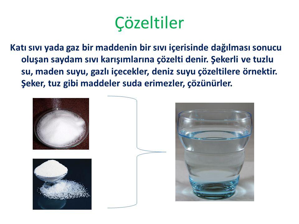 Çözeltiler Katı sıvı yada gaz bir maddenin bir sıvı içerisinde dağılması sonucu oluşan saydam sıvı karışımlarına çözelti denir.