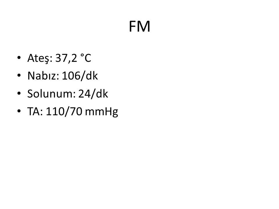 FM Ateş: 37,2 °C Nabız: 106/dk Solunum: 24/dk TA: 110/70 mmHg