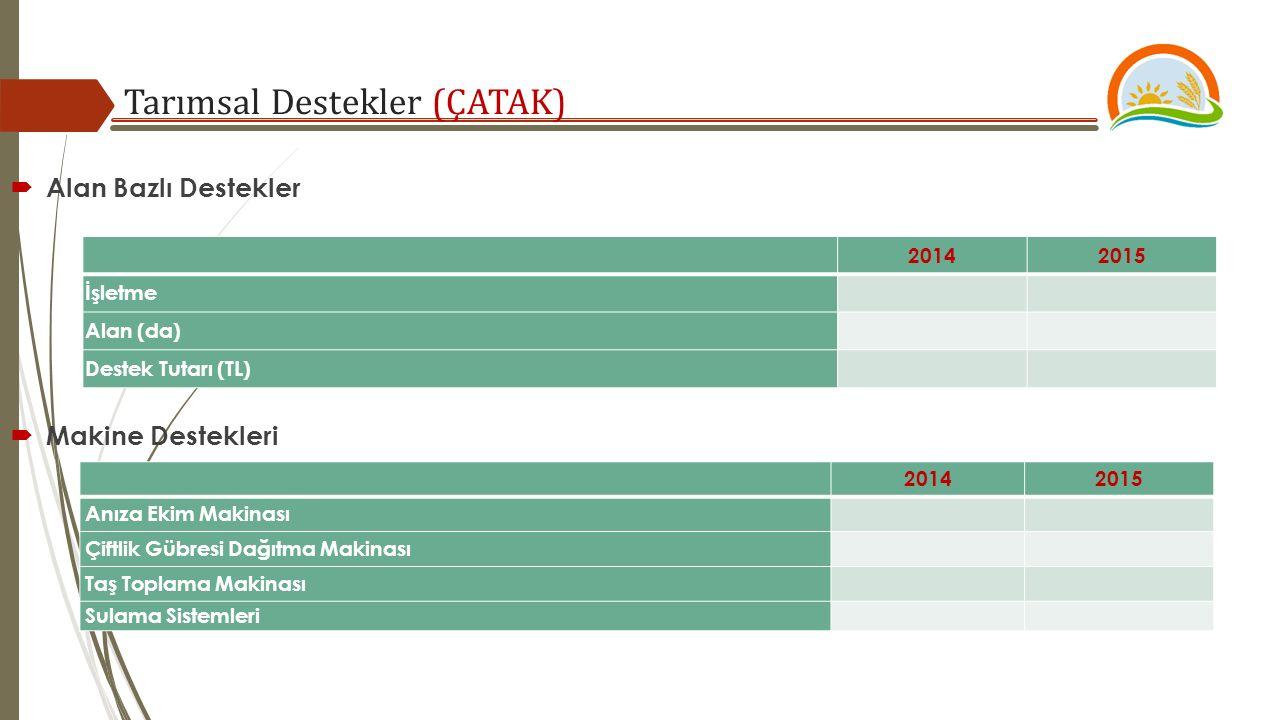 Tarımsal Destekler (ÇATAK) 20142015 İşletme Alan (da) Destek Tutarı (TL)  Alan Bazlı Destekler 20142015 Anıza Ekim Makinası Çiftlik Gübresi Dağıtma Makinası Taş Toplama Makinası Sulama Sistemleri  Makine Destekleri