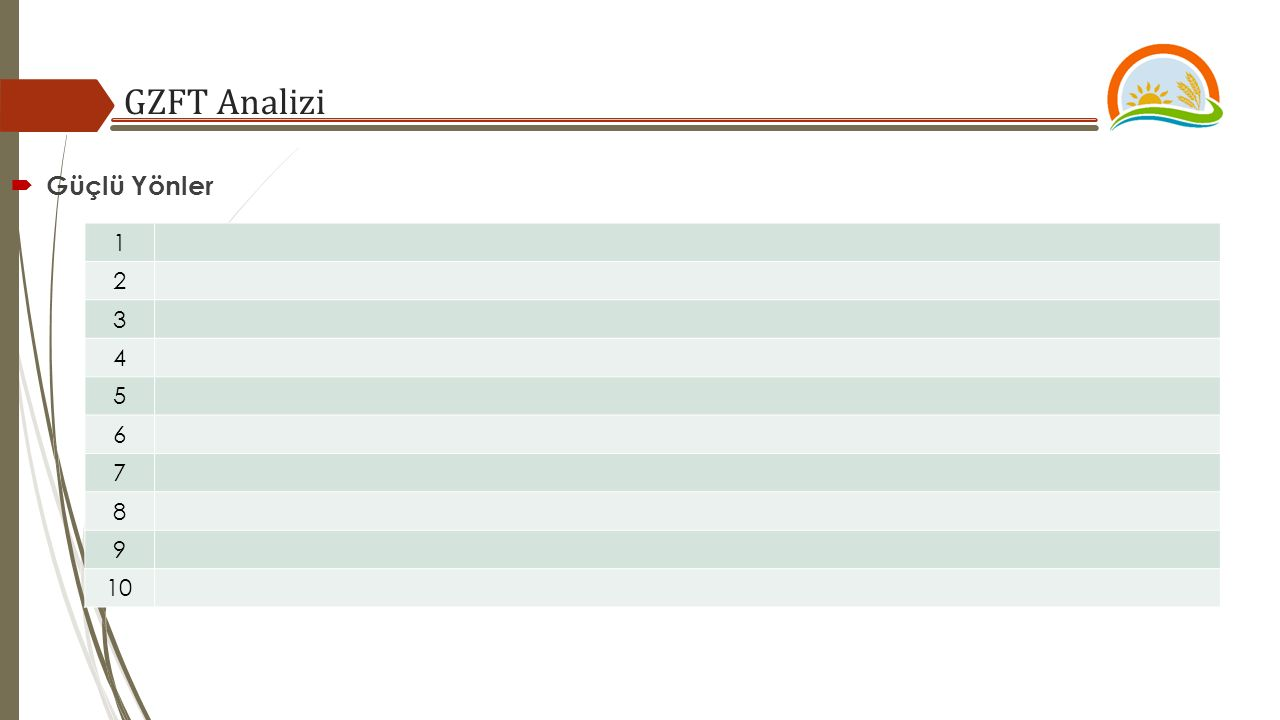 GZFT Analizi  Güçlü Yönler 1 2 3 4 5 6 7 8 9 10