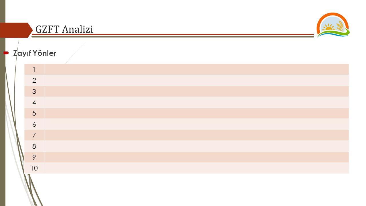 GZFT Analizi  Zayıf Yönler 1 2 3 4 5 6 7 8 9 10