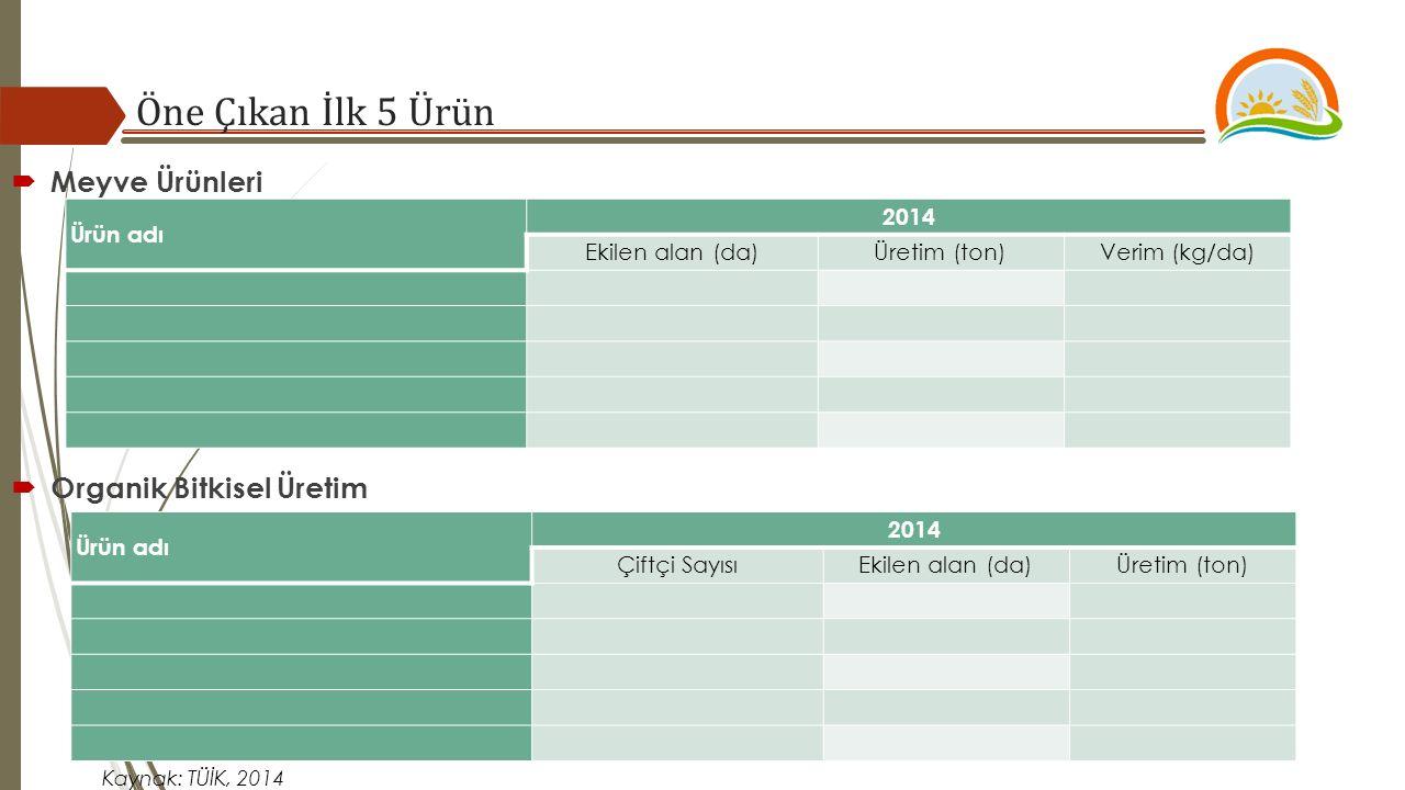 Öne Çıkan İlk 5 Ürün  Meyve Ürünleri Ürün adı 2014 Ekilen alan (da)Üretim (ton)Verim (kg/da) Kaynak: TÜİK, 2014  Organik Bitkisel Üretim Ürün adı 20