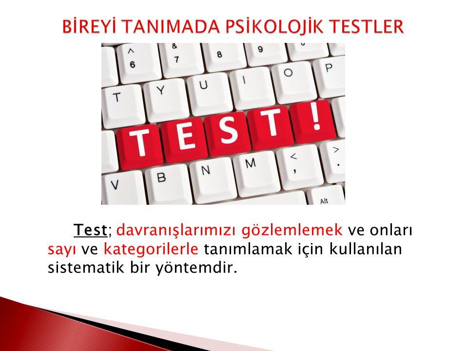 Test; davranışlarımızı gözlemlemek ve onları sayı ve kategorilerle tanımlamak için kullanılan sistematik bir yöntemdir.