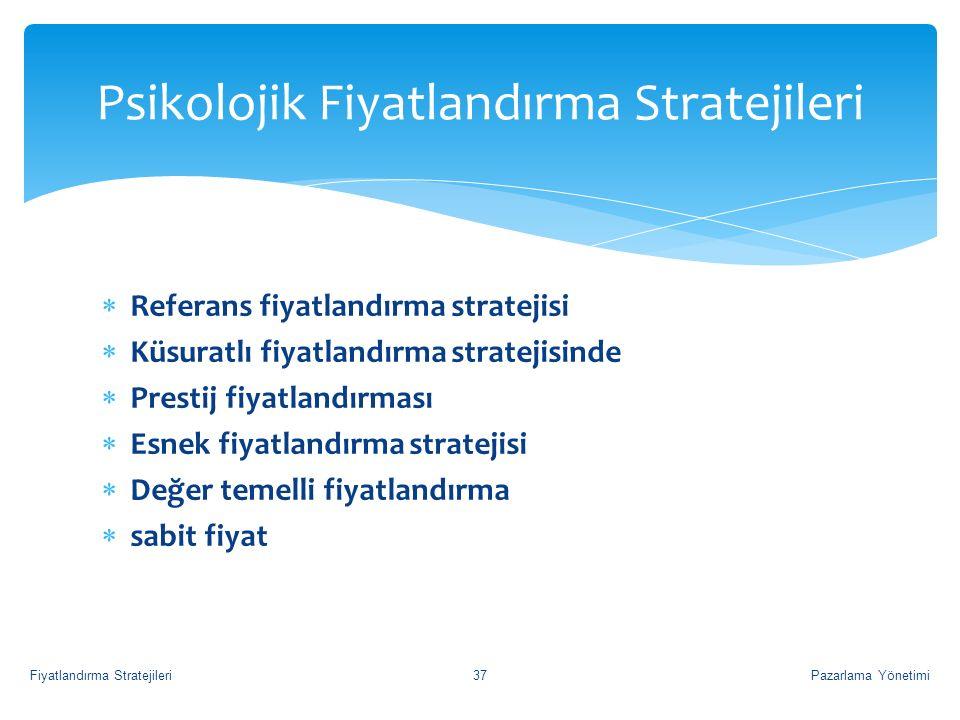  Referans fiyatlandırma stratejisi  Küsuratlı fiyatlandırma stratejisinde  Prestij fiyatlandırması  Esnek fiyatlandırma stratejisi  Değer temelli