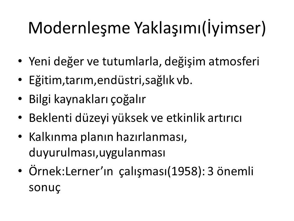 Modernleşme Yaklaşımı(İyimser) Yeni değer ve tutumlarla, değişim atmosferi Eğitim,tarım,endüstri,sağlık vb. Bilgi kaynakları çoğalır Beklenti düzeyi y