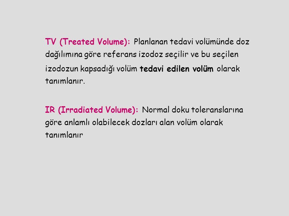 TV (Treated Volume): Planlanan tedavi volümünde doz dağılımına göre referans izodoz seçilir ve bu seçilen izodozun kapsadığı volüm tedavi edilen volüm