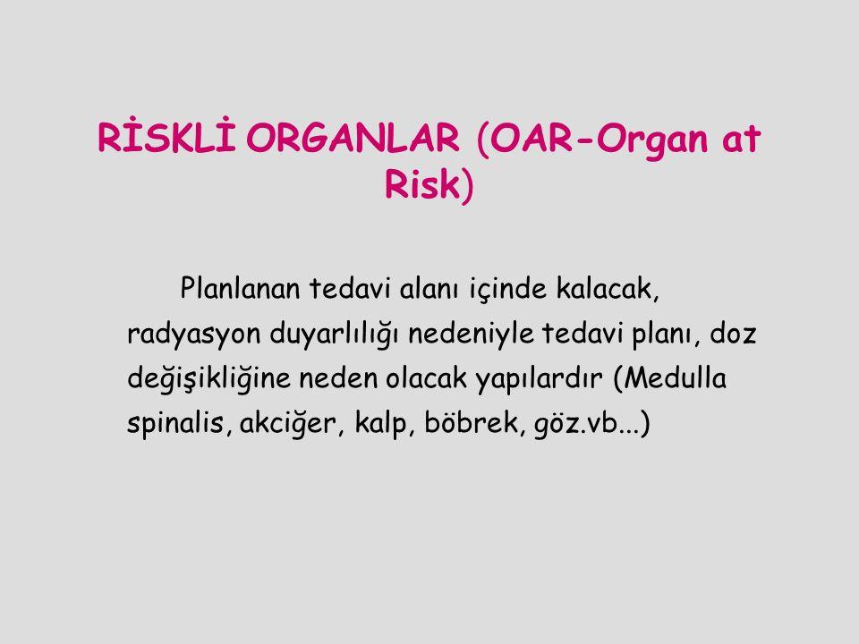 RİSKLİ ORGANLAR (OAR-Organ at Risk) Planlanan tedavi alanı içinde kalacak, radyasyon duyarlılığı nedeniyle tedavi planı, doz değişikliğine neden olaca