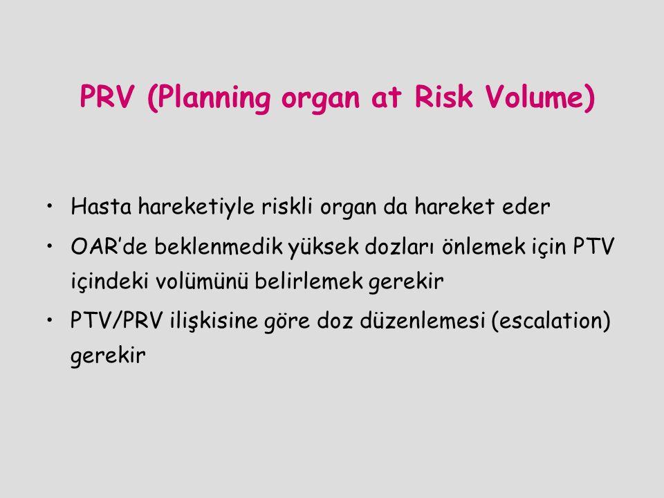 PRV (Planning organ at Risk Volume) Hasta hareketiyle riskli organ da hareket eder OAR'de beklenmedik yüksek dozları önlemek için PTV içindeki volümün