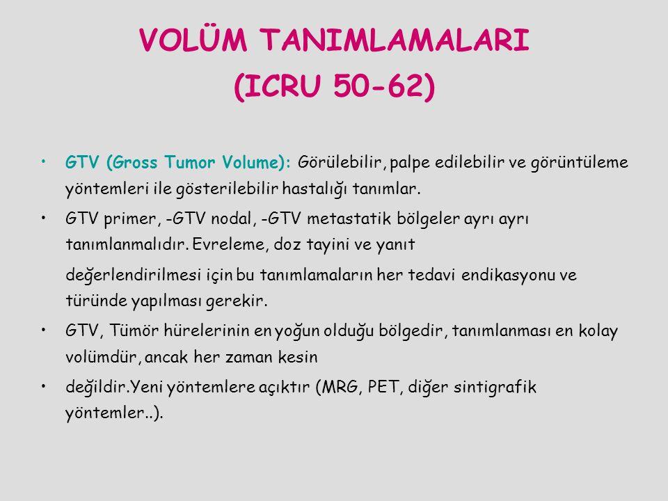 VOLÜM TANIMLAMALARI (ICRU 50-62) GTV (Gross Tumor Volume): Görülebilir, palpe edilebilir ve görüntüleme yöntemleri ile gösterilebilir hastalığı tanıml