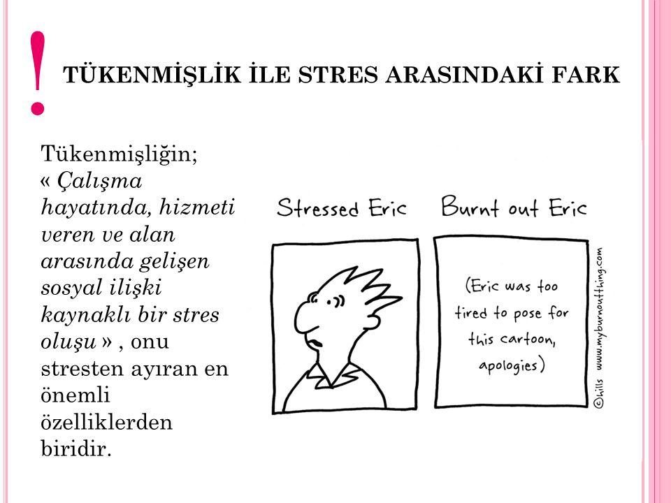 TÜKENMİŞLİĞİN SONUÇLARI 1)TÜKENMİŞLİĞİN BİREYE ETKİLERİ Zihinsel ve fiziksel rahatsızlıklar Depresyon, asabiyet Yorgunluk, uyku problemleri, Yaşam kalitesindeki düşüş 2)TÜKENMİŞLİĞİN ÇALIŞMA HAYATINA ETKİLERİ Hizmet kalitesinde düşüşler İş performansındaki düşüşler 3)TÜKENMİŞLİĞİN AİLE HAYATINA ETKİLERİ Aile içi çatışmalar İlişkilerde ki ilginin ve paylaşımların azalması