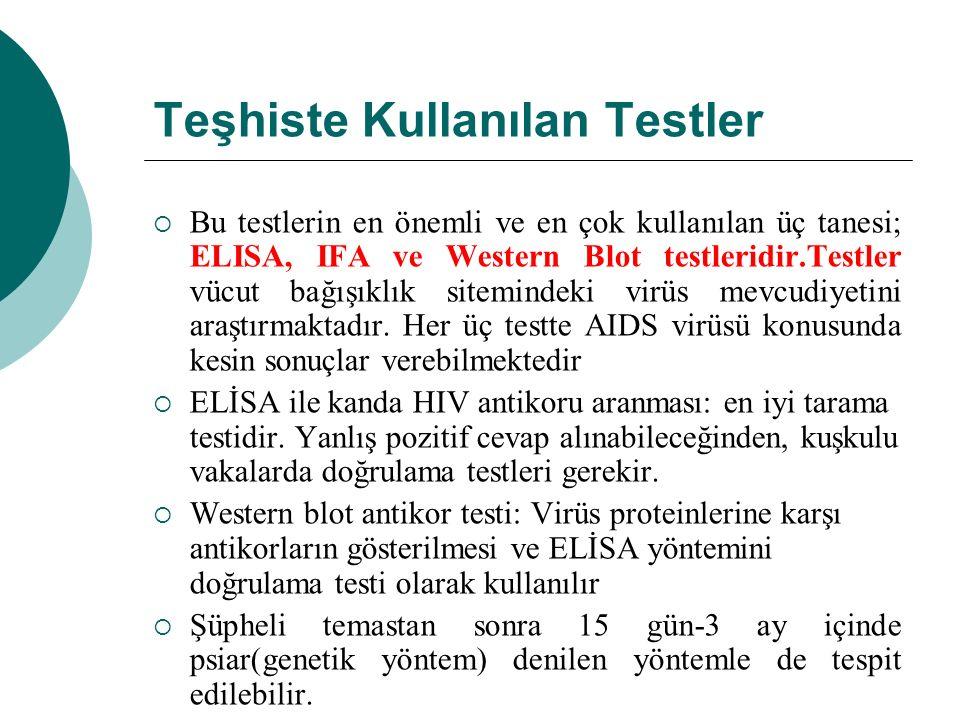Teşhiste Kullanılan Testler  Bu testlerin en önemli ve en çok kullanılan üç tanesi; ELISA, IFA ve Western Blot testleridir.Testler vücut bağışıklık s