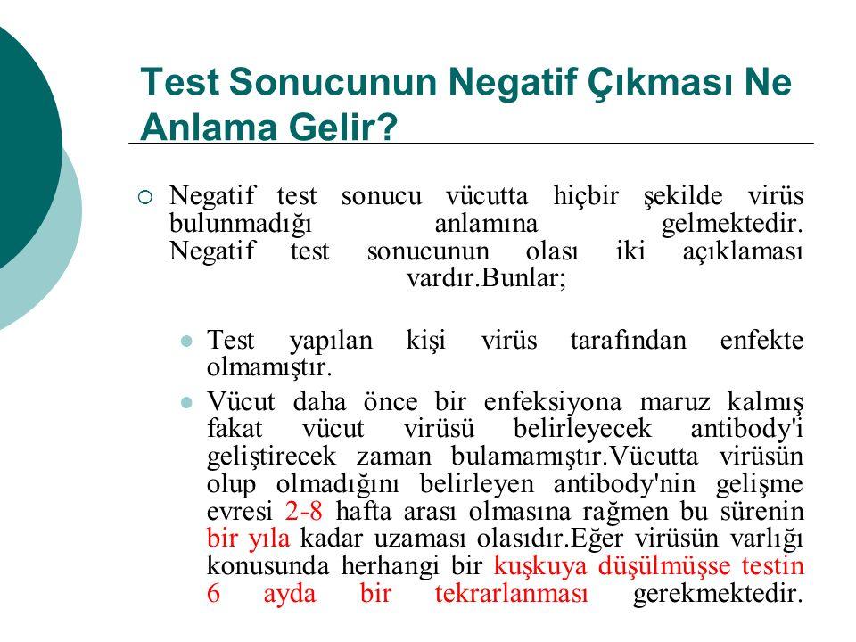Test Sonucunun Negatif Çıkması Ne Anlama Gelir?  Negatif test sonucu vücutta hiçbir şekilde virüs bulunmadığı anlamına gelmektedir. Negatif test sonu