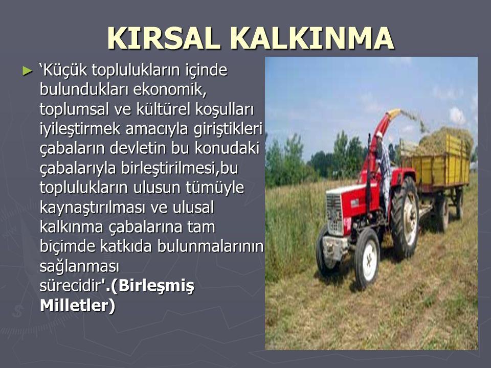 KIRSAL KALKINMA KIRSAL KALKINMA ► 'Küçük toplulukların içinde bulundukları ekonomik, toplumsal ve kültürel koşulları iyileştirmek amacıyla giriştikler