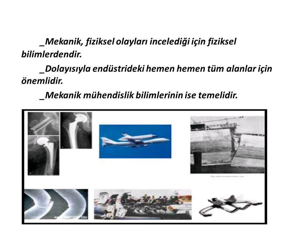 _Mekanik, fiziksel olayları incelediği için fiziksel bilimlerdendir. _Dolayısıyla endüstrideki hemen hemen tüm alanlar için önemlidir. _Mekanik mühend