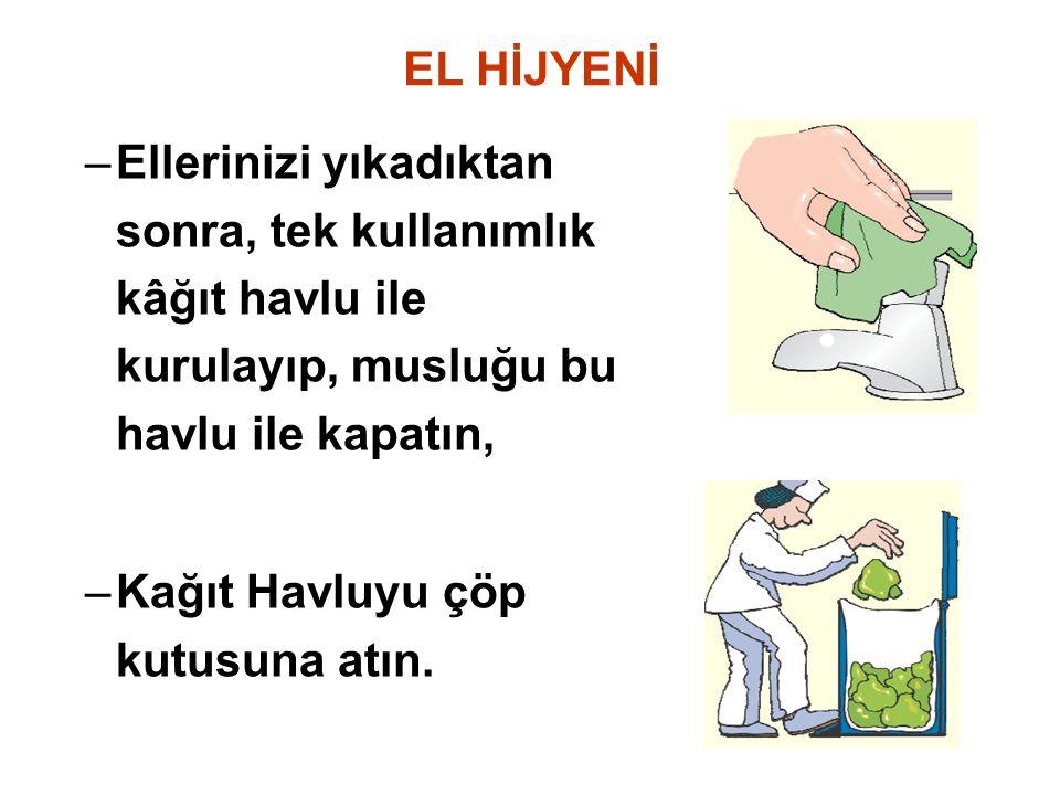 EL HİJYENİ –Ellerinizi yıkadıktan sonra, tek kullanımlık kâğıt havlu ile kurulayıp, musluğu bu havlu ile kapatın, –Kağıt Havluyu çöp kutusuna atın.
